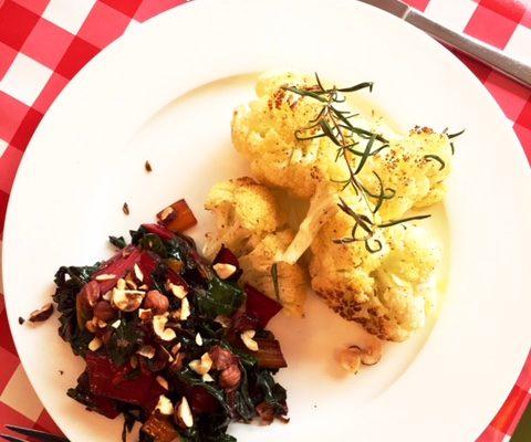 rainbow chard with roasted cauliflower