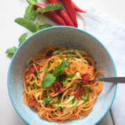 Sweet potato and courgette spaghetti salad with a Thai touch