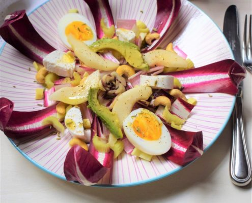 easter salad with radicchio egg cashews and avocado 2
