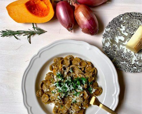 Orecchiette di grano arso with pumpkin