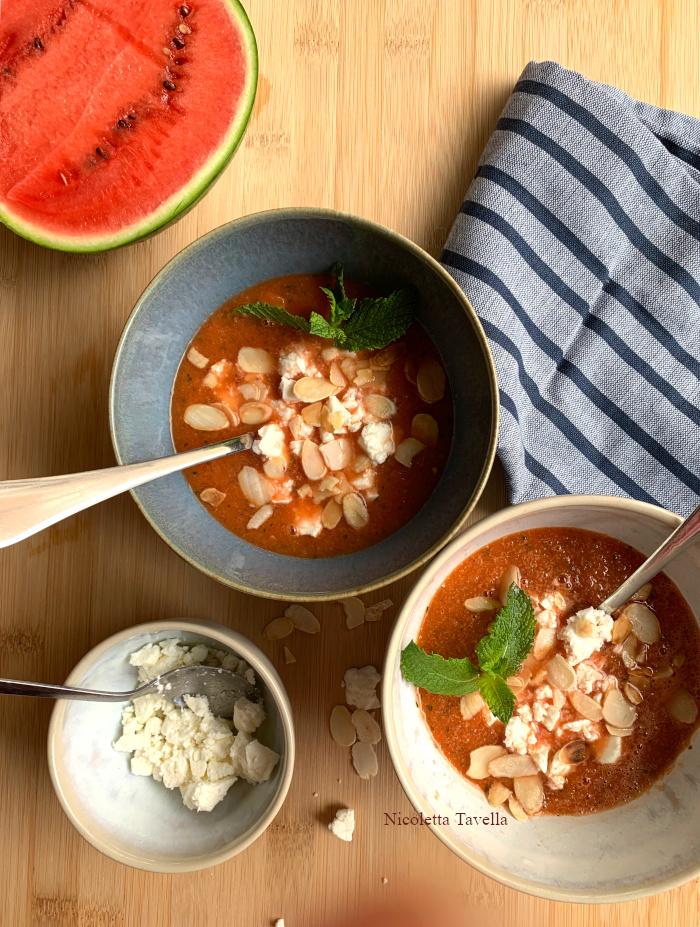 watermelon cucumber and feta soup